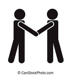 poignée main, équipe, illustration affaires, conception, icône