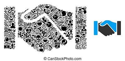 poignée main, acquisition, symboles, healthcare, mosaïque