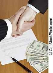 poignée main, après, affaires contractent, signature