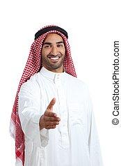 poignée main, arabe, emirats, saoudien, prêt, homme