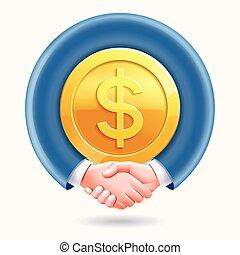 poignée main, association, autour de, professionnels, pièces, dollar, arrière-plan., conceptuel, or, design.