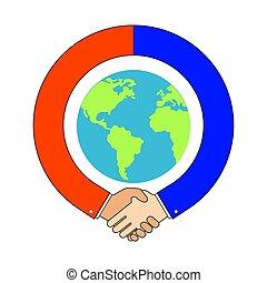 poignée main, autour de, globe, association, symbole., international