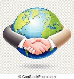 poignée main, autour de, professionnels, globe, association, arrière-plan., mondiale, conceptuel, la terre, design.