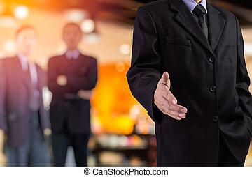 poignée main, bureau,  Business, gens,  concept, hommes, ensoleillé, deux, fond, sur