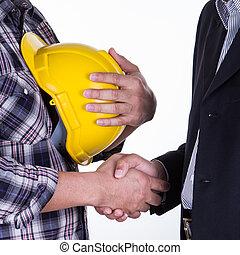 poignée main, business, architectes