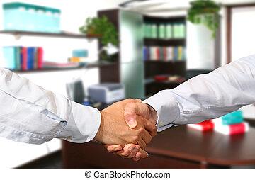 poignée main,  Business, bureau