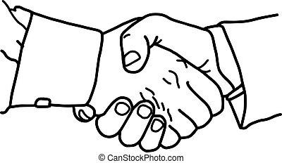 poignée main, business, -, croquis, illustration, isolé, lignes, vecteur, arrière-plan noir, dessiné, blanc, main