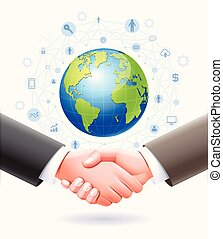 poignée main, business, globe, association, arrière-plan., conceptuel, la terre, design.