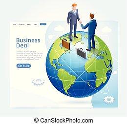 poignée main, business, globe, association, arrière-plan., homme affaires, conceptuel, la terre, design.