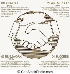 poignée main, business, infographics