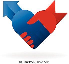 poignée main, business, logo