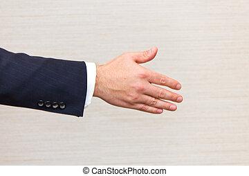 poignée main, business, offrande, homme