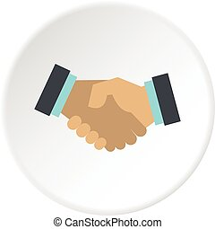 poignée main, cercle, icône
