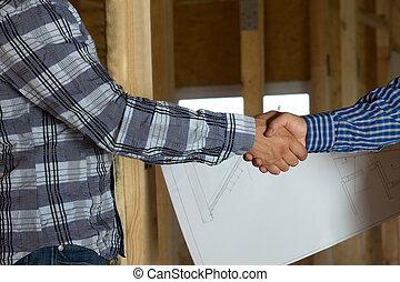 poignée main, client, architecte, projection, geste