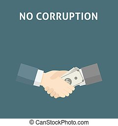 poignée main, concept, argent., corruption, illustration