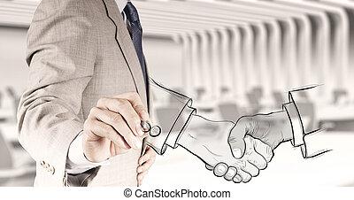 poignée main, concept, business, association, signe, dessiné...