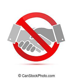 poignée main, concept, negative., non