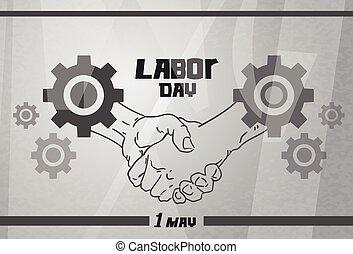 poignée main, concept, roue dentée, ouvrier, accord, jour main oeuvre, fond, international