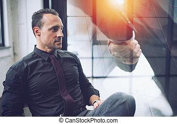 poignée main, confiant, loin, homme affaires, business, vision., montres, il, voile de surface, pendant, associé, avenir, meeting.