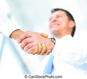 poignée main, dans, bureau