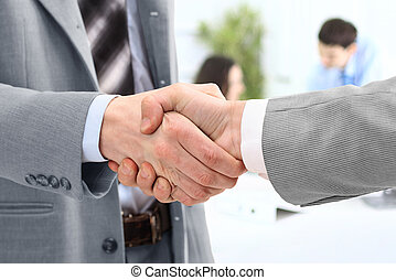 poignée main, de, associés
