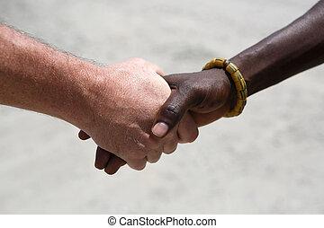 poignée main, entre, caucasien, africaine