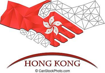 poignée main, fait, hong kong drapeau, logo