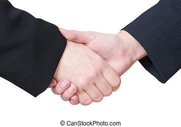 poignée main, femmes affaires