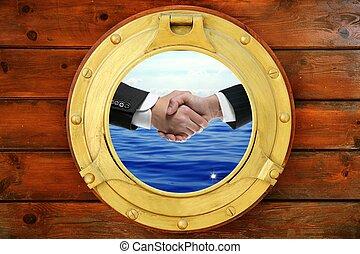 poignée main, fenêtre, hommes affaires, rond, bateau, vue