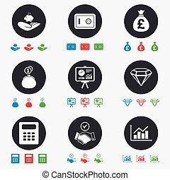 poignée main, finance, signe., espèces, argent, icons.