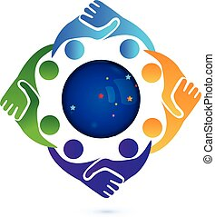 poignée main, gens dans, business, logo