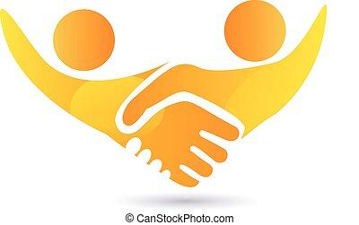 poignée main, gens, logo, vecteur