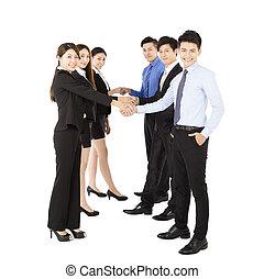 poignée main, geste, heureux, equipe affaires, jeune