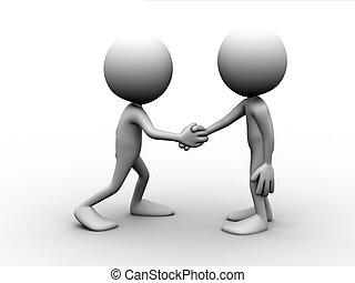 poignée main, hommes, deux