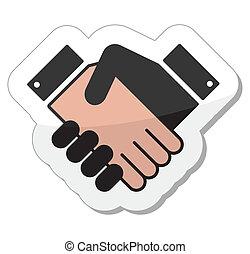 poignée main, icône, -, accord, étiquette