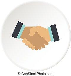poignée main, icône, cercle