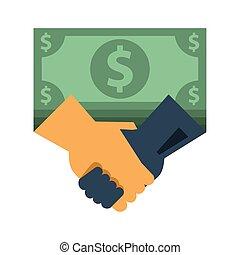 poignée main, icône, factures, argent