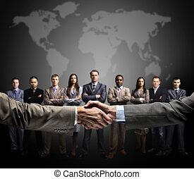 poignée main, isolé, sur, business, bac