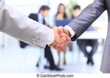 poignée main, isolé, sur, business, fond