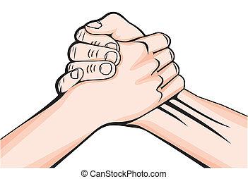 poignée main, mâle, deux mains