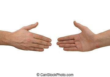 poignée main, mains, deux, avant