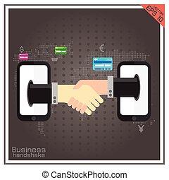 poignée main, mobile, association, humain, ligne, mondiale