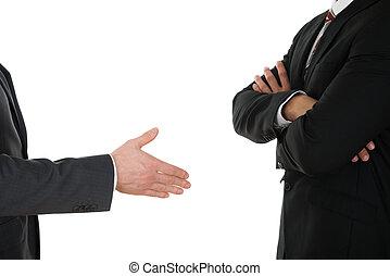 poignée main, offrande, personne, traversé, homme affaires, bras