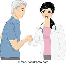 poignée main, patient, docteur