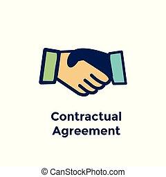 poignée main, processus, -, accord, contrat, embauche, employé, nouveau, icône