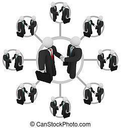 poignée main, -, réseau, business