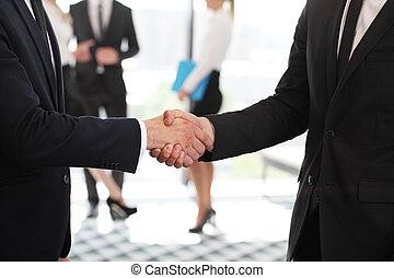 poignée main, réunion,  Business