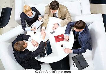 poignée main, réunion