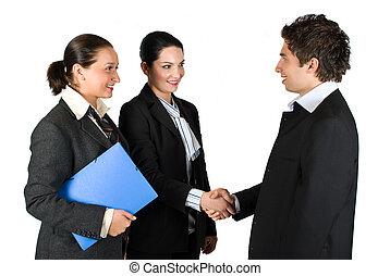 poignée main, réunion, professionnels