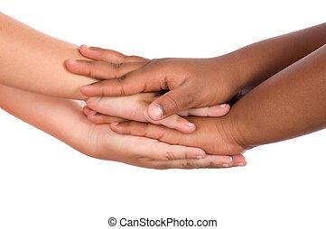 poignée main, races, entre